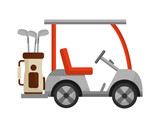 golf cart and bag with clubs isolated icon