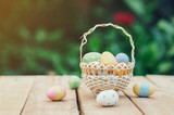 Colorful easter eggs in basket on wooden table win copy space. - 236796832