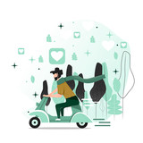 Vector illustration in a flat style. A man who rides a moped near a forest.