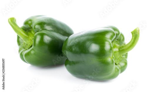 Leinwanddruck Bild Green pepper on white background