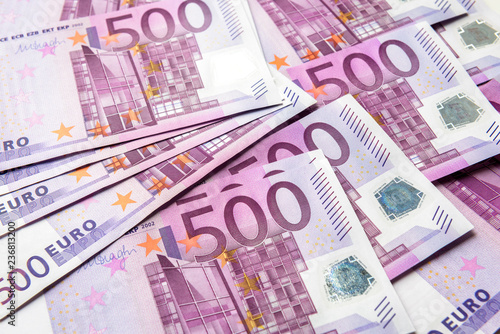 Leinwandbild Motiv 500 euro money banknotes background
