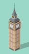 vector 3d isometric icon of Big Ben with flat style background and shadow