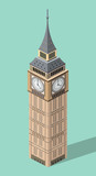 vector 3d isometric icon of Big Ben with flat style background and shadow © brichuas