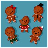 set of Cute gingerbread teddy bears