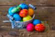 Leinwandbild Motiv Happy Easter, colorful eggs in a basket