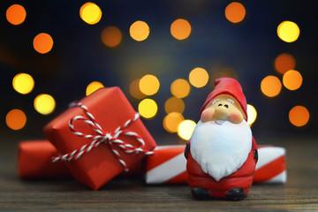 Santa and gifts. Christmas card