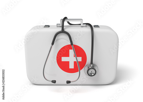 Leinwandbild Motiv 3d rendering of a medical bag with a stethoscope dangling down from it.