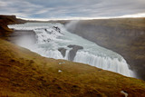 Two-level Gullfoss Waterfall, Iceland's Golden Ring