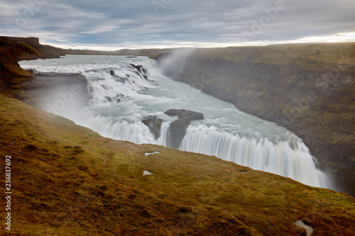 Two-level Gullfoss Waterfall, Iceland's Golden Ring
