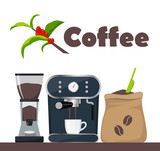 Coffee shop or cafe design illustration with coffee machine, sack with beans, grinder, cup. Tree branch with leaves and coffee berries. Advertising design template, vector.