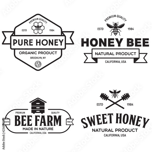 Vector Honey Vintage Logo And Icons For Honey Products Apiary And