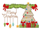 garland with christmas tree in wood isolated icon