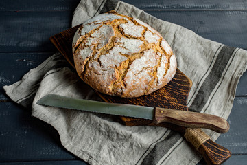 A loaf of fresh country bread.