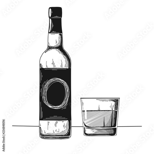 Bottle with alcohol and glass. Vector illustration.