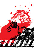 Extreme mountain biking design. Downhill, freeride,slopestyle,enduro. Jumping on bike. Gravity MTB. Vector