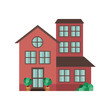 house with garden isolated icon
