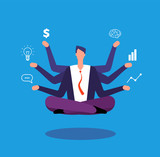Multitasking businessman. Manager sitting in yoga lotus pose and juggles with tasks. Effective management vector concept. Illustration of businessman lotus multitasking, business sitting relax pose