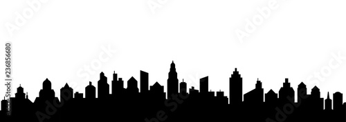 City skyline silhouette. City landscape template. Urban landscape. Vector illustration. - 236856680