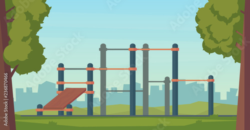 Summer street workout park for fitness and strength training. City sport place. Element and equipment for urban outdoor training. Flat style illustration