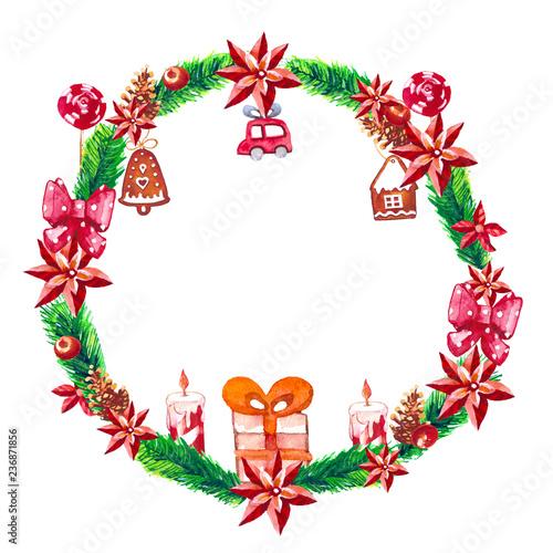 fototapeta na ścianę watercolor new year and mery christmas wreath.
