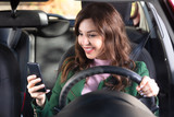 Woman Sitting Inside Car Using Mobile Phone