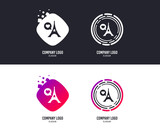 Logotype concept. Eiffel tower icon. Paris symbol. Speech bubble with heart sign. Logo design. Colorful buttons with icons. Vector