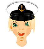 Person of the women in service cap of the captain of the sailor - 236890641