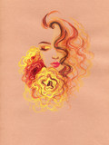 beautiful woman. fashion illustration. watercolor painting - 236902400
