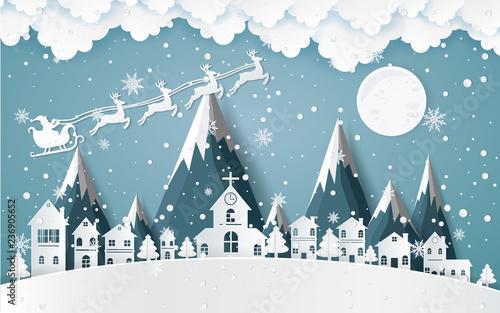 Mikołaj jazdy w sanek, zima z domów i śnieżna sztuka papieru. piękna sceneria w wektor projektowania