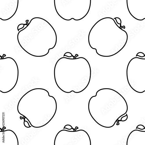 Apple Icon, Fruit Icon Seamless Pattern - 236907231