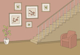 Hallway graphic stairs color interior sketch illustration vector - 236907433