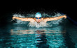 Leinwandbild Motiv Man in swimming pool. Butterfly swimming style