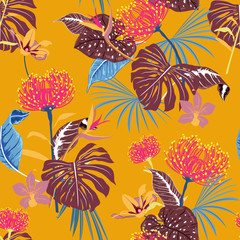 Beautiful tropical forest colorful of flowers and exotic leaves seamless pattern vector