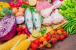 mediterranena diet : fish,meat and ingredients