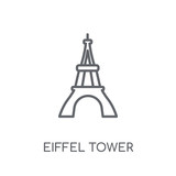 Eiffel tower linear icon. Modern outline Eiffel tower logo concept on white background from Architecture and Travel collection