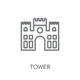 Tower linear icon. Modern outline Tower logo concept on white background from Architecture and Travel collection