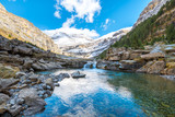beautiful stream at monte perdido national park, Spain