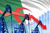 lowering, falling graph on Algeria flag background - industrial illustration of Algeria oil industry or market concept. 3D Illustration - 236927483