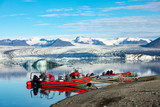 Boat Rides on Ice Lagoon, Iceland. Sunny frosty view of the fjord and ice icebergs
