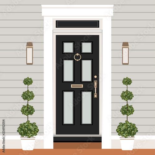 House Door Front With Doorstep And Steps Window Lamps Flowers