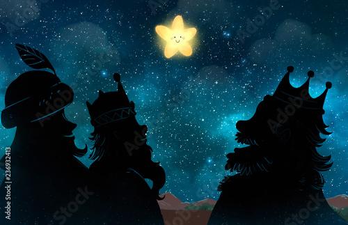 Reyes magos de Oriente con estrella de navidad © childrendrawings