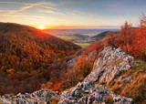 Panorama of autumn forest and rock in Slovakia mountain - 236933089