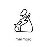 Mermaid icon. Trendy modern flat linear vector Mermaid icon on white background from thin line Fairy Tale collection