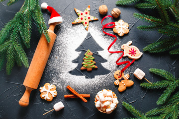 Christmas Ginger Cookie with Fir Branches