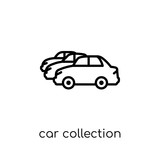 Car collection icon. Trendy modern flat linear vector Car collection icon on white background from thin line Luxury collection
