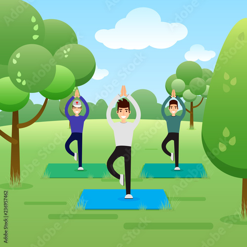 Naklejka Group of young men practicing yoga in the park. Banner, site, Poster Template