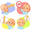 Set of baby stickers, smiley, emoji. Baby say wow, no, question mark. Baby boy with different emotions. Facial expression. Vector illustration. - 236972867