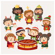 Cartoon people at Christmas market exchanging gifts, eating festival food and having fun - 236973215