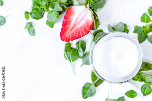 concept cooling organic cosmetics with on background top view - 236973832