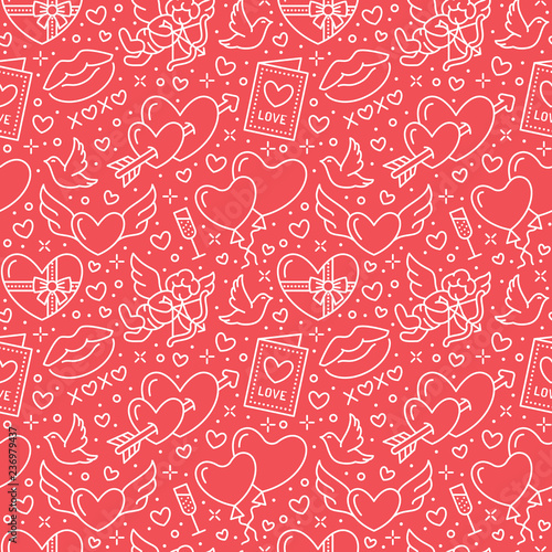 Valentines day seamless pattern. Love, romance flat line icons - hearts, chocolate, kiss, Cupid, doves, valentine card. Red white wallpaper for february 14 celebration - 236979437